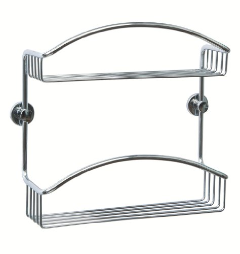Coorb 2 Tier Domed Wall Caddy Hotel Quality Never Drill Again Chrome on Brass -10x31x28cm- Unique advanced adhesive fixing
