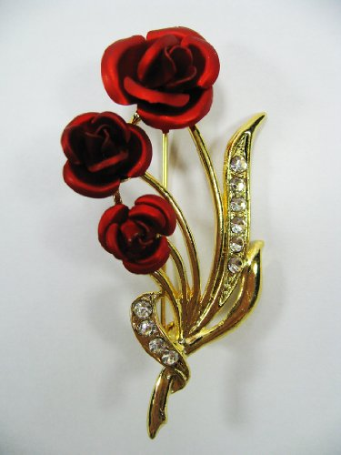 New Brooch Crystal Red Flower Cute