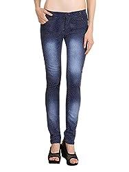 NGT Women's Polka Print Royal Blue Jeans