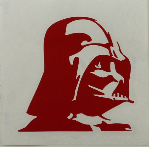 Licenses Products Star Wars Darth Vader Profile Rub-On Sticker, Red - 1