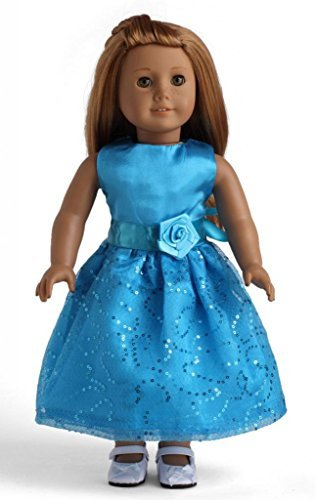 Light Blue Dress with Sequins Doll Clothes for 18 - 1
