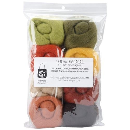 "Learn More About Ultra Fine 12"" Wool Roving 8-Pack: Autumn 2 Oz."