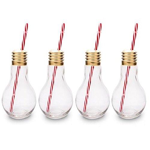 CKB Ltd® Lot de 4 Edison Light Bulb Ampoule Verres à cocktail Nouveauté Avec Paille 400ml - Idéal pour les boissons gazeuses, bières, cocktails & rhum