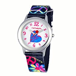 Red Balloon Kids W000339 Peace Love and Happiness Tween Stainless Steel Printed Strap Watch