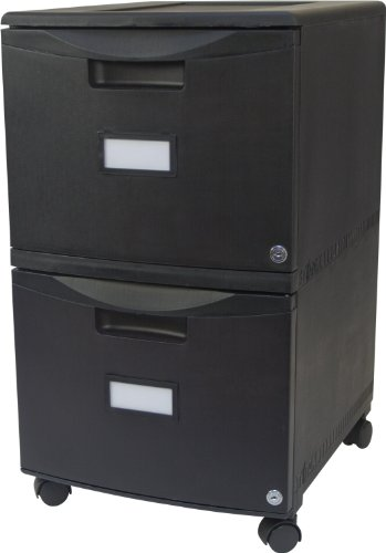 Storex 18-Inch Wheeled Two-Drawer Locking Filing Cabinet, Black (61309)