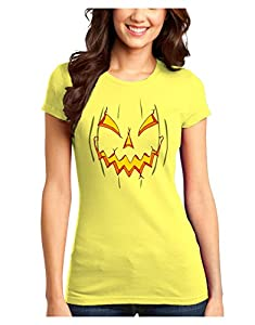 Scary Glow Evil Jack O Lantern Pumpkin Juniors T-Shirt - Yellow - Large