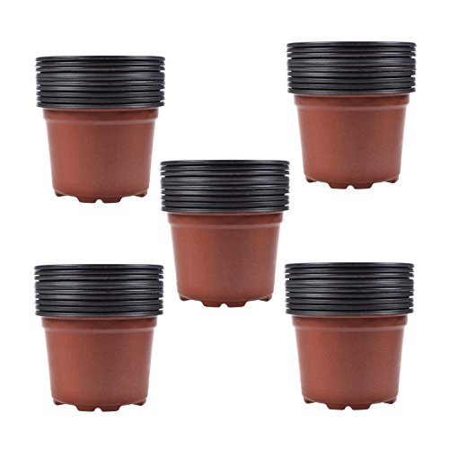 Coolrunner 3.5 Inch Plastic Flower Seedlings Nursery Pot/pots (100) (Flower Pot Tray Plastic compare prices)