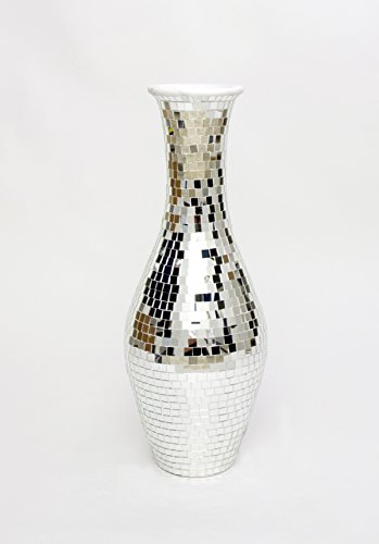 Tall Floor Vase With Glass Mosaic 80 Cm, Ceramic, Silver-coloured