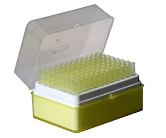 Biologix Research 21-0200 Universal RNase and DNase Free Graduated Sterile Pipettor Tip, Polypropylene, 200microliter Volume, Yellow (Case of 100 Racked)