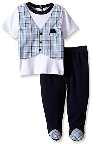 Quiltex Boys' Yard Dye Vest with Footed Pant Set, Multi, 3/6