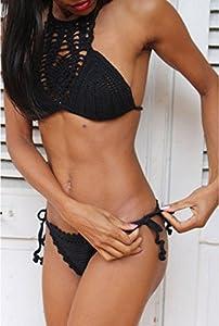 Yonas Women's Black Hollow Out Sexy Halter Crochet Tankini Swimsuit