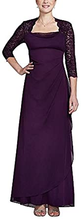 3/4 Lace Sleeve Matte Jersey Dress Plum, 14