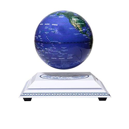 "woodlev Maglev Magnetic Levitation Levitron Floating Rotating Wireless Transmission Light itself 6"" Blue Globe Chinoiserie Chinese Style Platform Learning Education Home Decor"