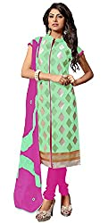 Zombom Women's Chanderi Cotton Unstitched Dress Material (ZBMDRTK1003_Green)
