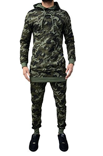 Da uomo Designer tuta mimetica Skinny sottile pantaloni Jogging Bottoms e con cappuccio felpa con cappuccio con palangari Top in cotone camo camouflage X-Large