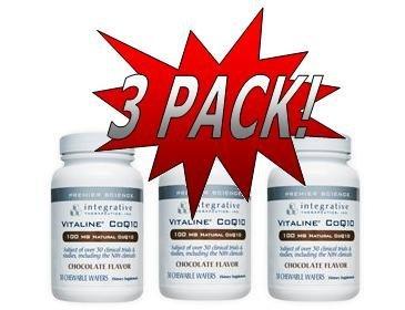 Integrative Therapeutics - Vitaline Coq10 (100 Mg) - Chocolate Flavor (30 Chewables) 3 Pack (Coq78)