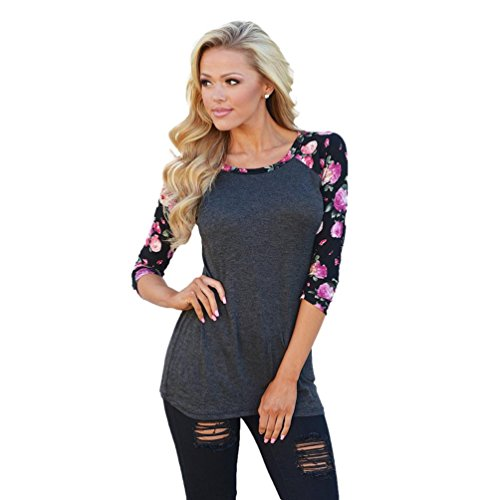 Usstore Women Blouse Floral Printing Half Sleeve Round Neck Splice T-Shirt Tops