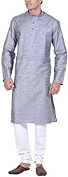 Kisah Men's Cotton Linen Kurta (KA-S-073-42_Grey_42)