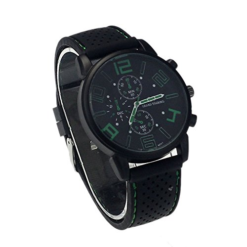 Zps(Tm) New Mens Stainless Steel Luxury Sport Analog Quartz Clock Wrist Watch Green