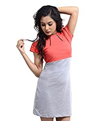 VeaKupia Women's Asymmetric Regular Fit Dress (Coral, 34)