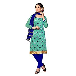 Resham Fabrics Green Chanderi Dress Material