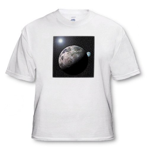Moon Dance solar system scene of planet Earth and moon dancing in space orbit - White Infant Lap-Shoulder Tee (6M)