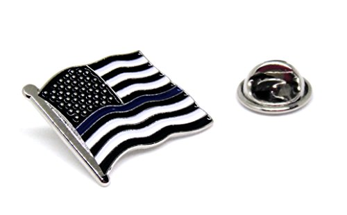 Blue Thin Line US Flag - USA Proudy Patriotic American Standard Official Police Lapel Pin Series (Blue Line Standard) (Gold Charm Brackets compare prices)