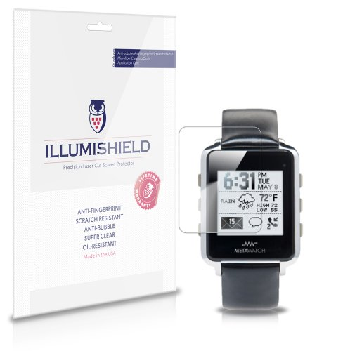 iLLumiShield - MetaWatch Frame Screen Protector Japanese Ultra Clear HD Film with Anti-Bubble and Anti-Fingerprint - High Quality (Invisible) LCD Shield - Lifetime Replacement Warranty - [3-Pack] (Metawatch Frame compare prices)