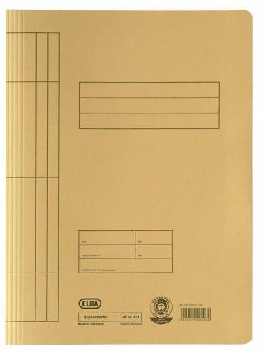 Elba 20451GB - Cartella portadocumenti, 250 g/mq, in cartone manila, per ca. 200 fogli A4 DIN, 100 pezzi, colore: Giallo