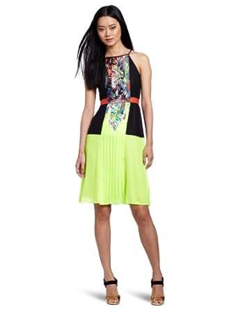 BCBGMAXAZRIA Women's Sahara Print Pleat Color Block Dress, Neon Yellow, 0