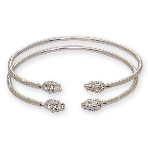 Grape Bunch Ends West Indian Bangles .925 Sterling Silver (PAIR) (MADE IN USA)