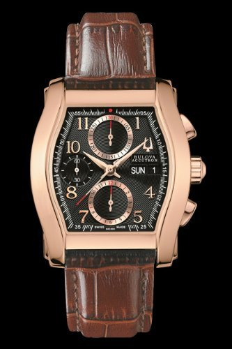 Bulova Accutron 64C000 Men's Stratford Brown Valjoux Swiss Leather Watch
