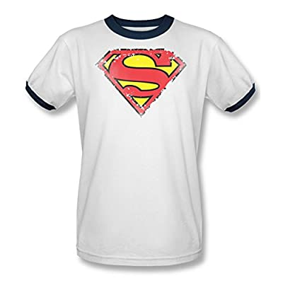 Superman Distressed Shield Ringer T-Shirt