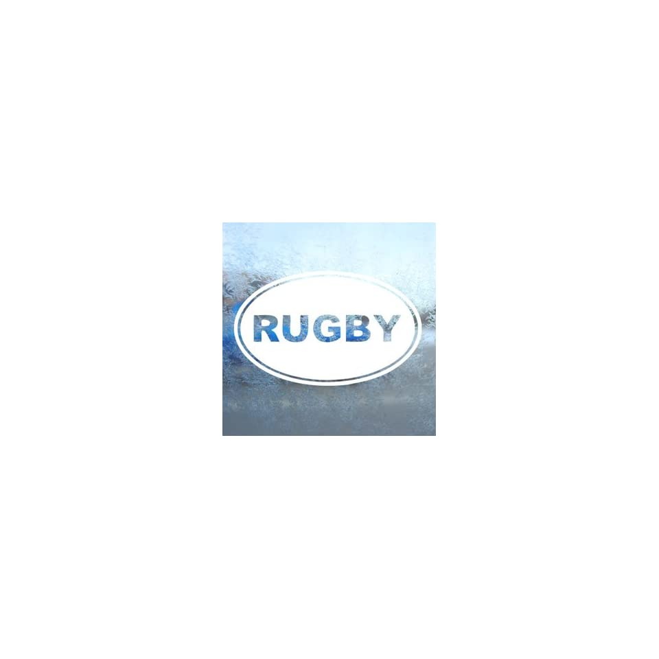 Rugby EURO OVAL White Decal Car Laptop Window Vinyl White Sticker