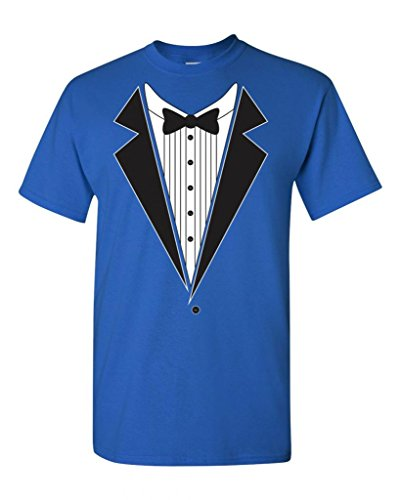 Tuxedo Bow Tie Adult DT T-Shirt Tee (Large, Royal Blue) (Blue Tuxedo T Shirt compare prices)