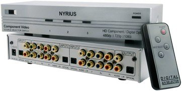 Nyrius SW201 HD Component Video YPbPr & Digital Audio Optical Toslink 3 Input Selector Switch with Remote Compatible with HDTV, Blu-ray DVD player, Satellite, Cable, PCM, Dolby Digital, DTS, XBOX360, PS3, Wii, iPod
