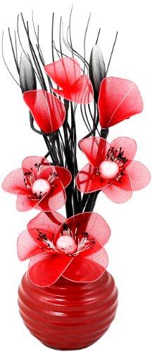Flourish 813 - Piccolo vaso con fiori artificiali, colore: rosso
