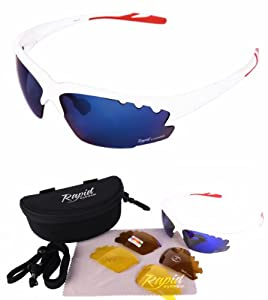 Buy Breeze Lightweight TR90 WHITE SPORTS SUNGLASSES Interchangeable Vented Blue Mirror, POLARIZED & LOW LIGHT Lenses for... by Rapid Eyewear Sport Sunglasses