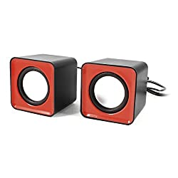 ANKGLEAS Mini Portable Classic Multimedia Speaker Powered by USB 2.0 and 3.5mm Jack for Sound Output (Red/Black) - 2 Years Warranty