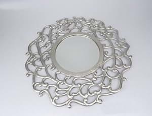 Homescapes - Silver Round Decorative Mirror - 52 cm (20 in) Diameter - 100% Aluminium - Distressed Antique Finish - Round Victorian Mirror Frame