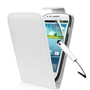 Weiß Supergets Hülle für das Samsung Galaxy S3 Mini I8190 Klapptasche in Lederoptik mit Karteneinschub und Magnetverschluß Etui Flip Case, Schutzfolie, Mini Eingabestift
