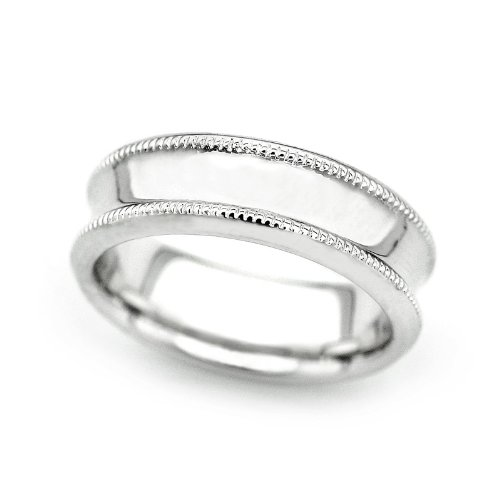 Platinum Plated 925 Sterling Silver Double Milgrain Grooved Ring (Unisex Design, 4 mm Width)
