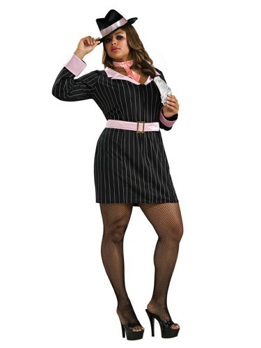 Plus Size Gangster Costume Mobster Theatre Costumes Black Mob Dress
