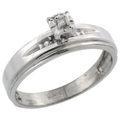 Sterling Silver Diamond Engagement Ring, w/ 0.06 Carat Brilliant Cut Diamonds, 3/16 in. (5mm) wide, Size 9.5