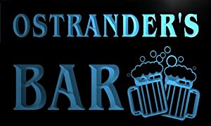 w003520-b OSTRANDER'S Name Home Bar Pub Beer Mugs Cheers Neon Light Sign