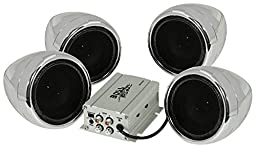 BOSS AUDIO MC450 Chrome 1000 watt Motorcycle/ATV Sound System with Two Pairs of 3 Inch Weather Proof Speakers, Aux Input and Volume Control