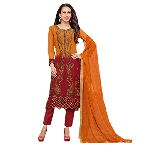 Fabefy Orange And Red Georgette Fabric Party Wear Salwar Kameez