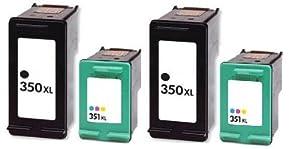 Cartouches d'encre compatibles 2 x Noire HP 350 xl & 2 x Couleurs HP 351 XL