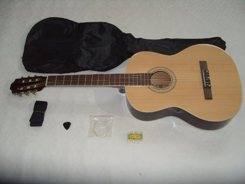 4/4 full size natural acoustic nylon classical string guitar package pack - inc bag, strap, pick, pitch pipes and guitar tutor dvd