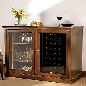 Siena Mezzo Wine Credenza with 28 Bottle Touchscreen Wine Refrigerator